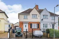 """<p>This semi-detached property in Bristol has two reception rooms, four bedrooms, a workshop space, sauna, and its own storage outbuilding – perfect for storing those <a href=""""https://www.housebeautiful.com/uk/garden/g32755466/garden-accessories/"""" rel=""""nofollow noopener"""" target=""""_blank"""" data-ylk=""""slk:garden essentials"""" class=""""link rapid-noclick-resp"""">garden essentials</a>. It might need a little sprucing up, but this gives new owners the chance to really put their own stamp on it. </p><p><a href=""""https://www.zoopla.co.uk/for-sale/details/57655356/"""" rel=""""nofollow noopener"""" target=""""_blank"""" data-ylk=""""slk:This property is currently on the market for £300,000 with Connells via Zoopla."""" class=""""link rapid-noclick-resp"""">This property is currently on the market for £300,000 with Connells via Zoopla.</a></p>"""