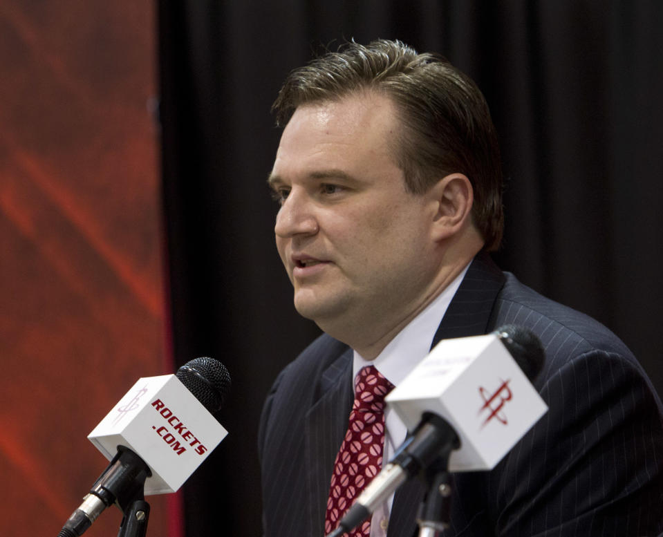 HOUSTON, TX - JULY 19: Daryl Morey, general manager of the Houston Rockets speaks during a press conference announcing the signing of Jeremy Lin at Toyota Center on July 19, 2012 in Houston, Texas.  (Photo by Bob Levey/Getty Images)