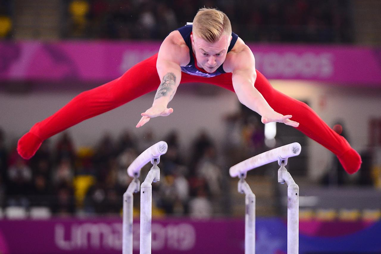 <p>Men also compete on parallel bars, where they're required to complete a series of continuous swings and flight elements, as well as a dismount. Deductions are assessed for errors such as a gymnast moving his hands along the bars in a handstand.</p>