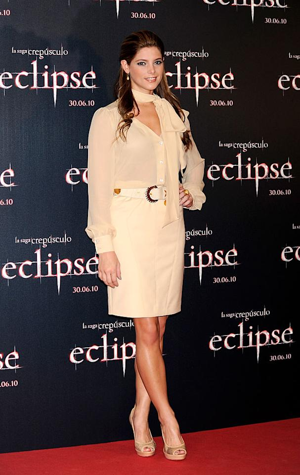 """Taking a step away from her usual red carpet style, Ashley Greene went for a sexy secretary vibe in a chic Michael Kors tie-neck blouse and matching skirt, Alexandre Birman heels, and Yossi Harari jewelry while promoting """"Eclipse"""" in Madrid, Spain. Fotonoticias/<a href=""""http://www.wireimage.com"""" target=""""new"""">WireImage.com</a> - June 28, 2010"""