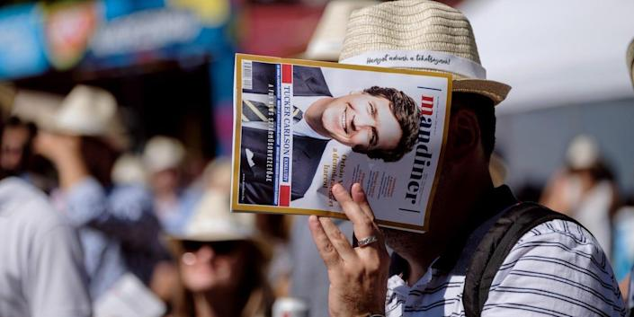 Tucker Carlson on the cover page of the Hungarian weekly magazine Mandiner at the Mathias Corvinus Collegium (MCC) Feszt on August 7, 2021 in Esztergom, Hungary.