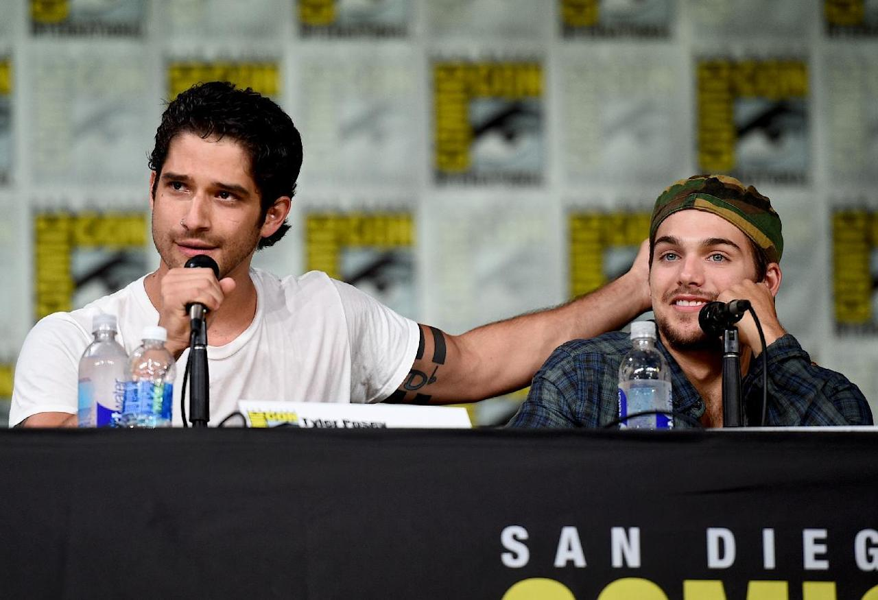 "Tyler Posey, left, and Dylan Sprayberry attend the ""Teen Wolf"" panel on day 1 of Comic-Con International on Thursday, July 21, 2016, in San Diego. (Photo by Al Powers/Invision/AP)"