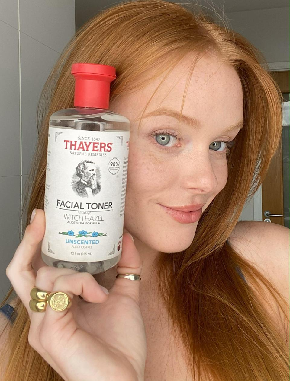"""<p>Cowen has changed up her skin-care routine a few times over the years but she's finally landed on a regimen that works for her. The one product that's been a constant is the <span>Thayers Witch Hazel Alcohol Free Unscented Toner</span> ($11), which her mom introduced her to at the age of 11.</p> <p>""""My mom, she's very big into skin care,"""" said Cowen. """"I think it was on my birthday. She was like, 'OK, it's your 11th birthday, it's time to look into skin-care stuff,' and I remember being so excited because I felt like I was becoming a woman.""""</p> <p>All these years later, she's partnered with the brand as an ambassador and it couldn't be a more perfect fit. It's her go-to, especially on days when she's in a lot of heavy makeup for work, to clean, rebalance, hydrate her skin after double cleansing.</p>"""
