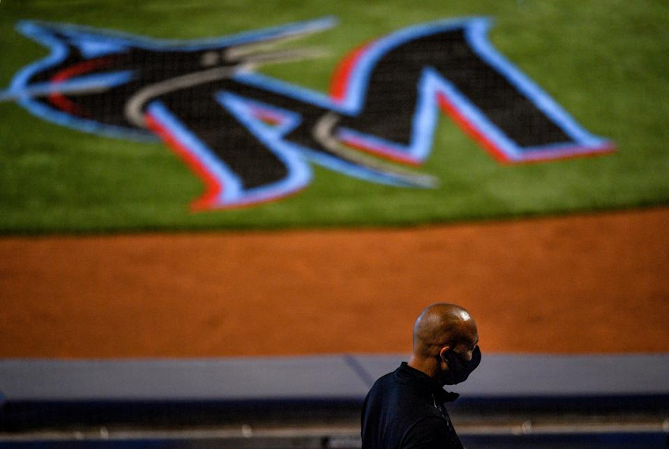 MIAMI, FLORIDA - JULY 16: Miami Marlins CEO Derek Jeter in the stands wearing a mask during an intrasquad game at Marlins Park on July 16, 2020 in Miami, Florida. (Photo by Mark Brown/Getty Images)