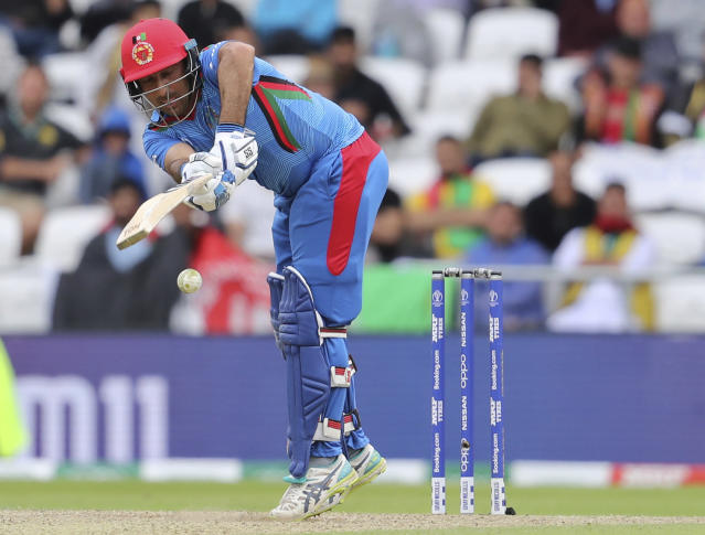 Afghanistan's Asghar Afghan bats during the Cricket World Cup match between Afghanistan and West Indies at Headingley in Leeds, England, Thursday, July 4, 2019. (AP Photo/Rui Vieira)