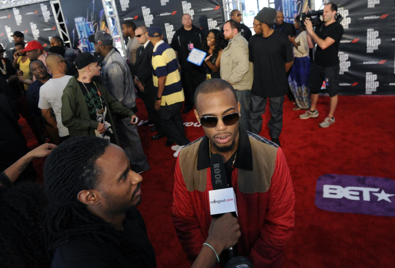 B.o.B attends the red carpet at the BET Hip-Hop Honors at Boisfeuillet Jones Atlanta Civic Center on Saturday, Sept. 29, 2012, in Atlanta. (Photo by John Amis/Invision/AP)
