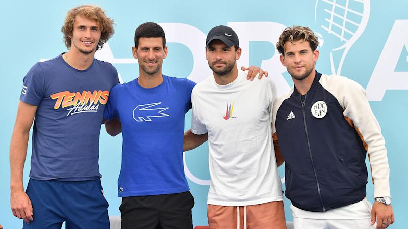Dimitrov is seen here with others tennis stars at the Adria Tour in June.