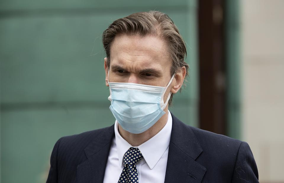 Television presenter Dr Christian Jessen arriving at Belfast High Court as defamation proceedings taken against him by First Minister Arlene Foster continue. Picture date: Friday May 21, 2021.
