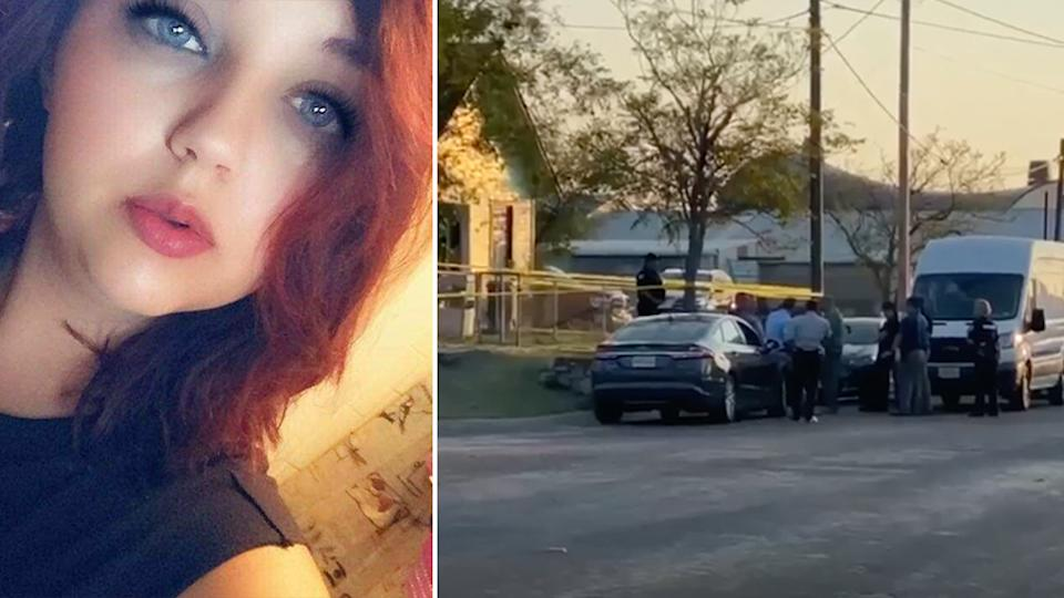 Pictured on the left is Selena Ann Bradley who was found dead and on the right is a picture of the police searching her boyfriends house