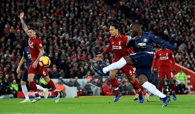 Manchester United's Romelu Lukaku was largely ineffective but his cross did set up United's goal