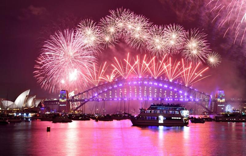 The Harbour Bridge display is always the highlight of Sydney's New Year's Eve fireworks. Source: Getty