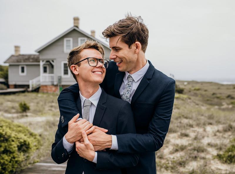 Luke, left, with his husband, Hans, on their wedding day (Photo: Courtesy of Bird and Rose Photography)