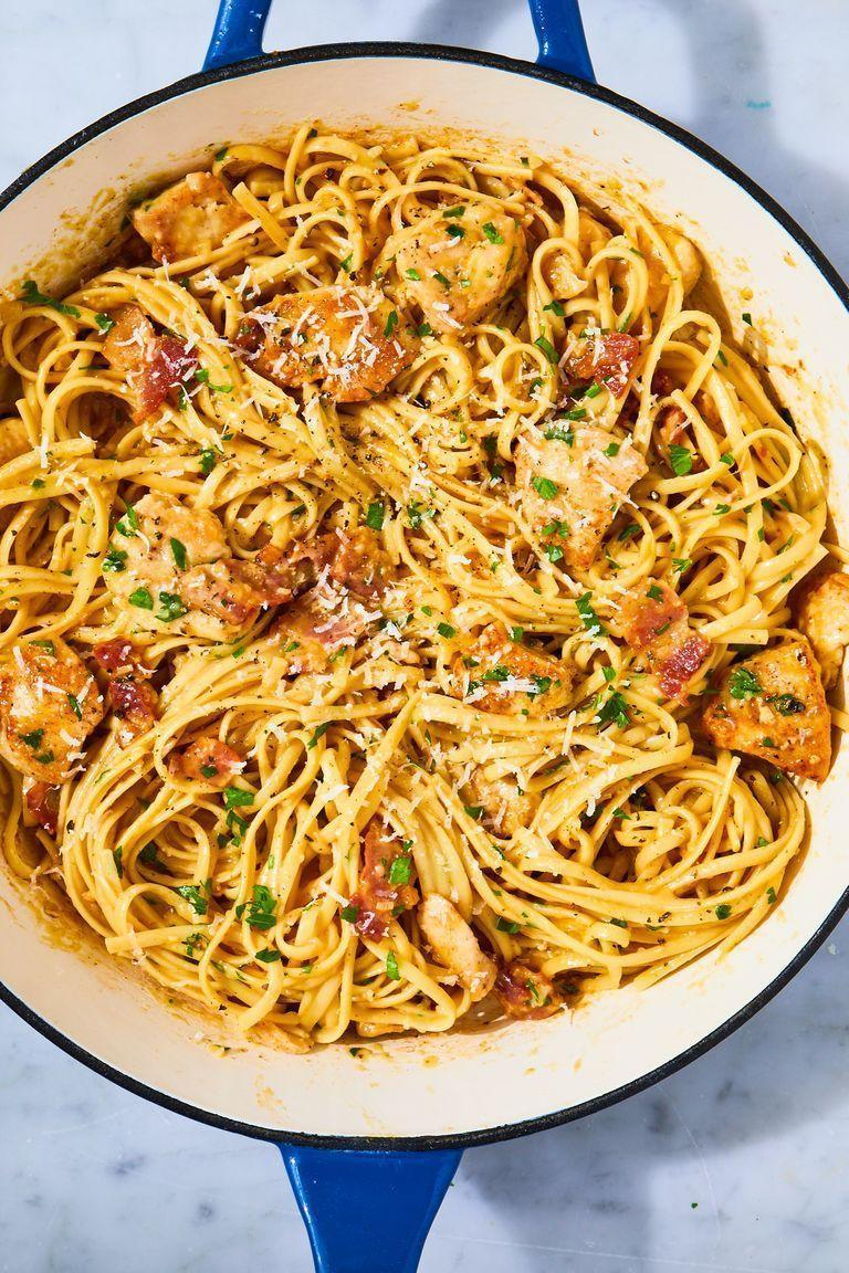 "<p>When you're looking for something comforting and carb-y, nothing fits the bill like a good carbonara. This version adds a bit of protein by way of sautéed chicken breasts, making it the perfect quick and easy weeknight dinner. No fettuccine on hand? Spaghetti, linguine, or capellini would all be great instead. Happy slurping!</p><p>Get the <a href=""https://www.delish.com/uk/cooking/recipes/a28909109/chicken-carbonara-pasta-recipe/"" rel=""nofollow noopener"" target=""_blank"" data-ylk=""slk:Chicken Carbonara"" class=""link rapid-noclick-resp"">Chicken Carbonara</a> recipe.</p>"