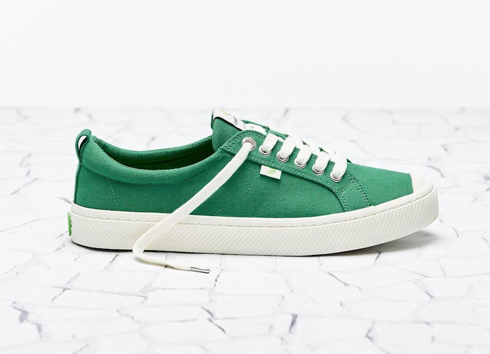 <p>A pop of color is without a doubt the easiest way to jazz up a casual outfit. Enter the <span>Cariuma OCA Low Top Sneaker</span> ($79). Not only is the style sustainably made, down to recycled plastic shoelaces, but all sales support the reforestation and preservation of the Brazilian rainforest.</p>