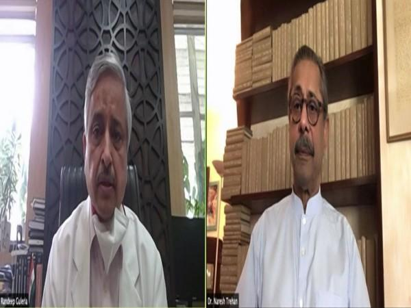 Randeep Guleria and Naresh Trehan jointly adress the nation on COVID vaccination on Saturday. [Photo/ANI]
