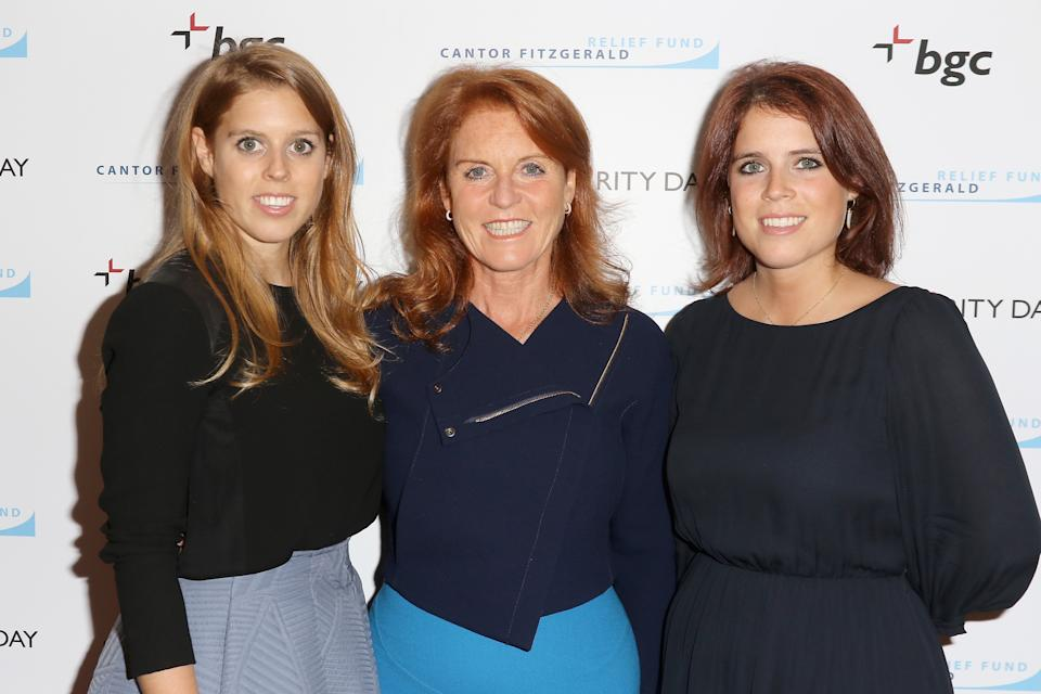 NEW YORK, NY - SEPTEMBER 11:  Beatrice Ferguson, Sarah Ferguson, Duchess of York,  and Eugenie Ferguson attend Annual Charity Day hosted by Cantor Fitzgerald and BGC at BGC Partners, INC on September 11, 2015 in New York City.  (Photo by John Parra/Getty Images for Cantor Fitzgerald)