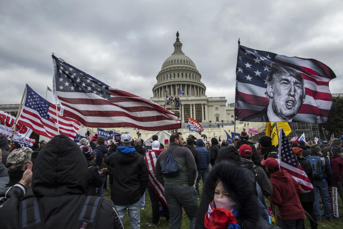 President Trump's supporters gather outside the Capitol building on Jan. 6. (Photo by Probal Rashid/LightRocket via Getty Images)