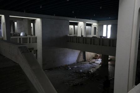 View of an empty room at a destroyed museum in Mosul