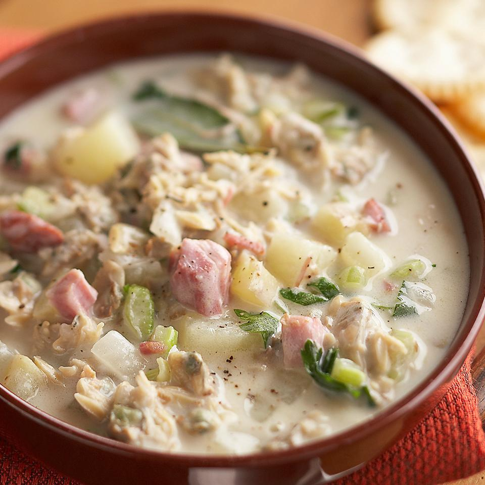 <p>Plan to make this slow-cooker chowder recipe when you have a busy day at work. Put in just a few minutes of prep in the morning and you'll be rewarded with a hearty clam chowder come dinnertime.</p>
