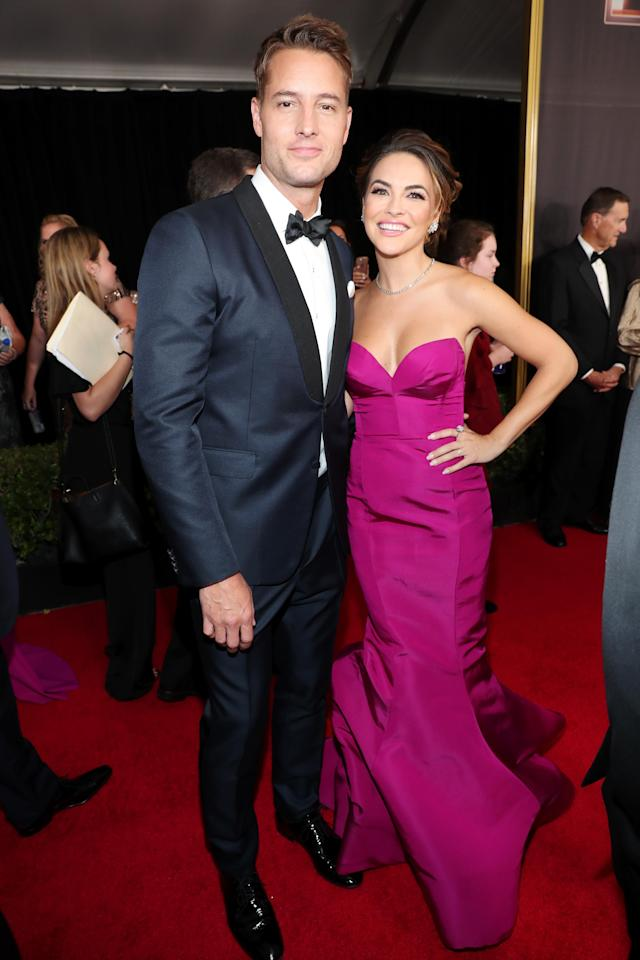 LOS ANGELES, CA - SEPTEMBER 17: Actor Justin Hartley (L) and Chrishell Stause walk the red carpet during the 69th Annual Primetime Emmy Awards at Microsoft Theater on September 17, 2017 in Los Angeles, California. (Photo by Rich Polk/Getty Images for IMDb)