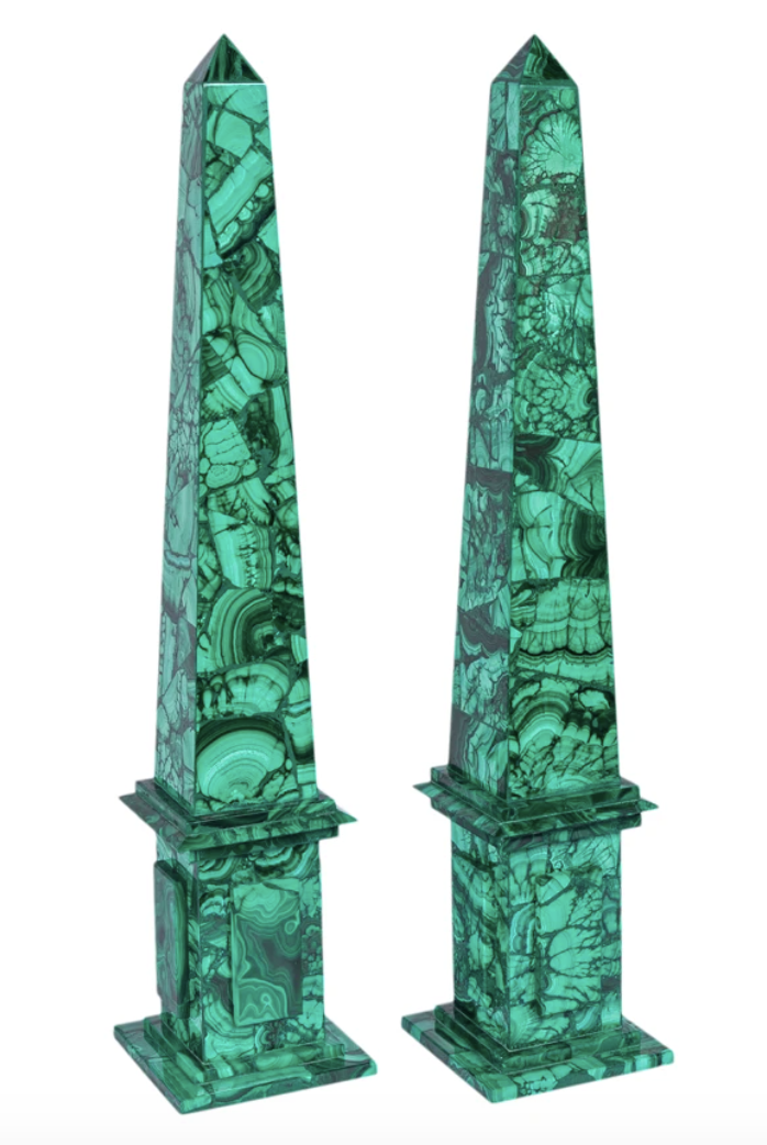 "<p>foundbymaja.com</p><p><strong>$1800.00</strong></p><p><a href=""https://www.foundbymaja.com/products/extra-large-malachite-obelisks-with-stepped-base?_pos=2&_sid=8745481f4&_ss=r"" rel=""nofollow noopener"" target=""_blank"" data-ylk=""slk:Shop Now"" class=""link rapid-noclick-resp"">Shop Now</a></p><p>For a sophisticated and eclectic addition to Easter decor, scatter these Malachite obelisks around the table or on side tables for extra height, and a hint of lush, springy green hues.</p>"