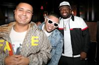<p>50 Cent was joined by friends, DJ Camilo and DJ Pereira, at his Super Bowl dinner at the Urban Stillhouse in Saint Petersburg, Florida.</p>