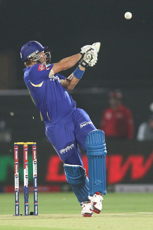 Shane Watson of Rajasthan Royals misses while attempting to hook a wide delivery during match 8 of the the Pepsi Indian Premier League ( IPL) 2013 between The Rajasthan Royals and the Kolkata Knight Riders held at the Sawai Mansingh Stadium in Jaipur on the 8th April 2013..Photo by Shaun Roy-IPL-SPORTZPICS..Use of this image is subject to the terms and conditions as outlined by the BCCI. These terms can be found by following this link:..https://ec.yimg.com/ec?url=http%3a%2f%2fwww.sportzpics.co.za%2fimage%2fI0000SoRagM2cIEc&t=1498727209&sig=qJ9365MqfVVgSJZpKn4cWQ--~C