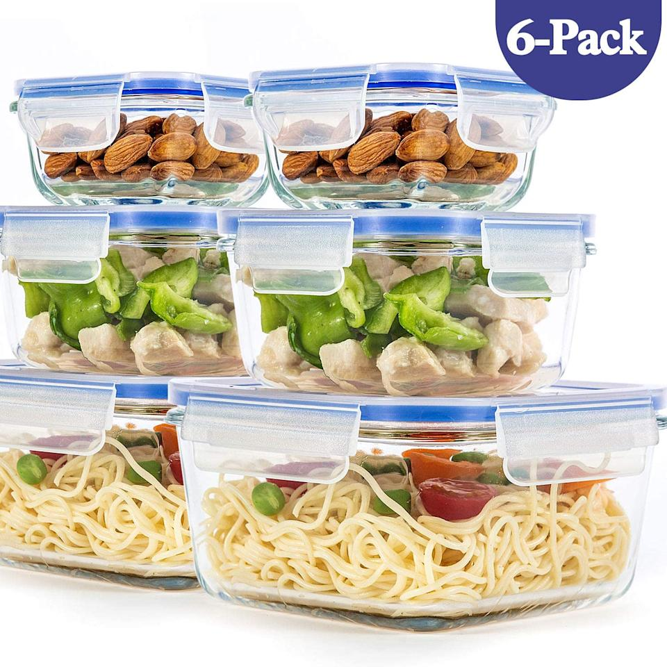 6 Pack Glass Containers. Image via Amazon.