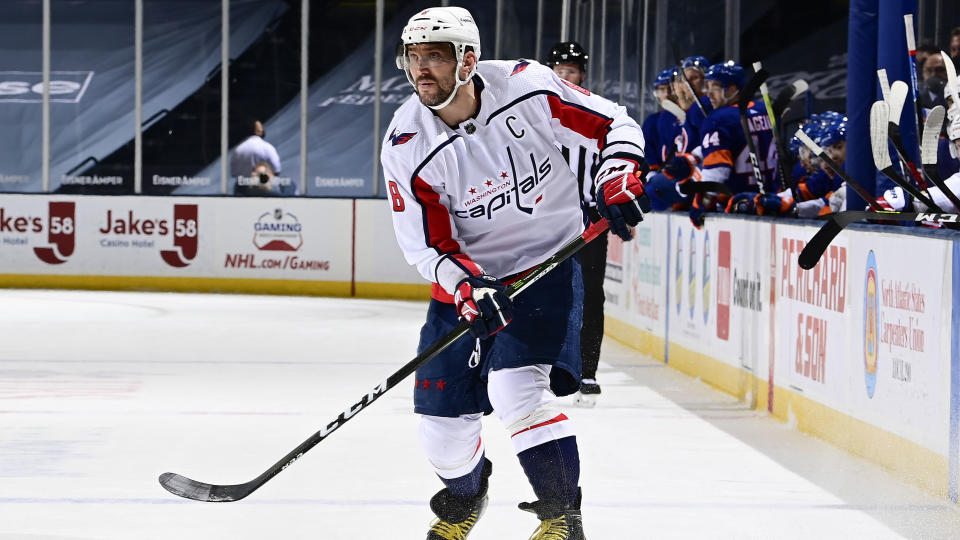 UNIONDALE, NEW YORK - APRIL 22:  Alex Ovechkin #8 of the Washington Capitals skates against the New York Islanders during the second period at Nassau Coliseum on April 22, 2021 in Uniondale, New York. (Photo by Steven Ryan/NHLI via Getty Images)