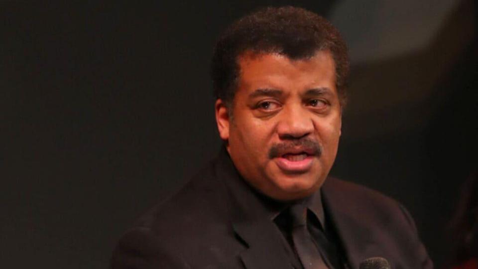 """In this February photo, Neil deGrasse Tyson speaks onstage at National Geographic's Los Angeles Premiere Of """"Cosmos: Possible Worlds"""" at UCLA's Royce Hall in Westwood, California. (Photo by Joe Scarnici/Getty Images for National Geographic)"""