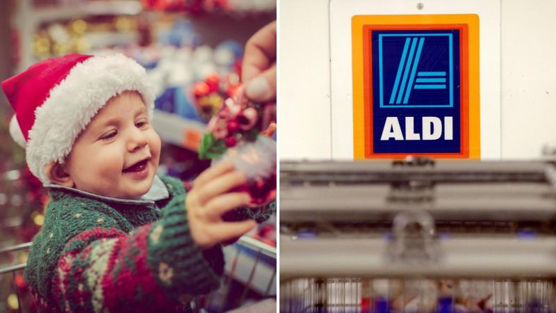 A baby smiling riding a trolley on the left, and an Aldi logo behind trolleys on the right. (Images: Getty/AAP)