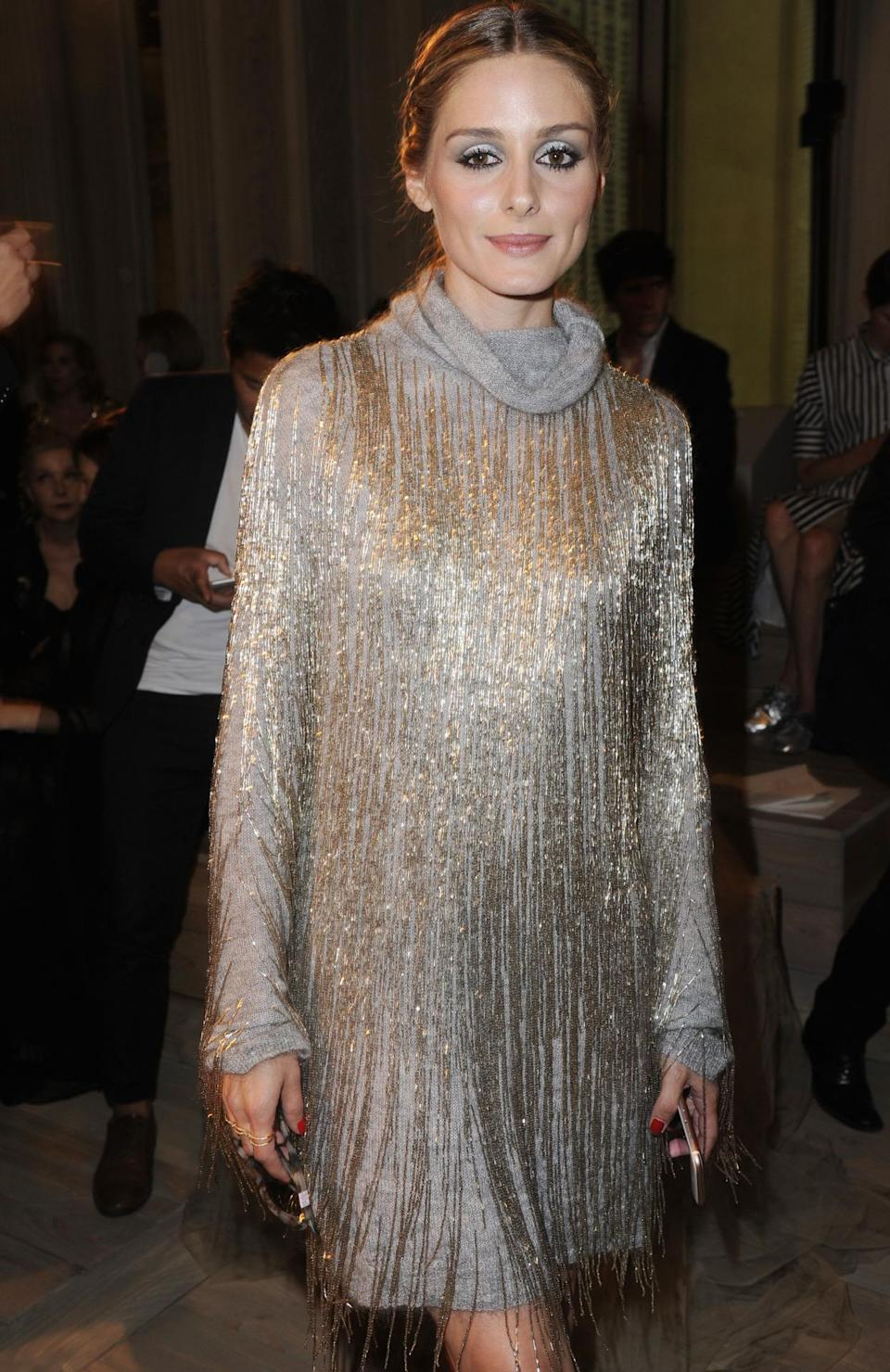 <p>Olivia Palermo glistening in an amazing glittery number on the Valentino FROW. <i>[Photo: Dominique Maitre/WWD/REX/Shutterstock]</i></p>