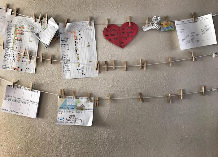 A wall showing Bible verses inside a community center for refugees at the Astoria Park Apartments in Amarillo, Texas. (Photo: Holly Bailey/Yahoo News)