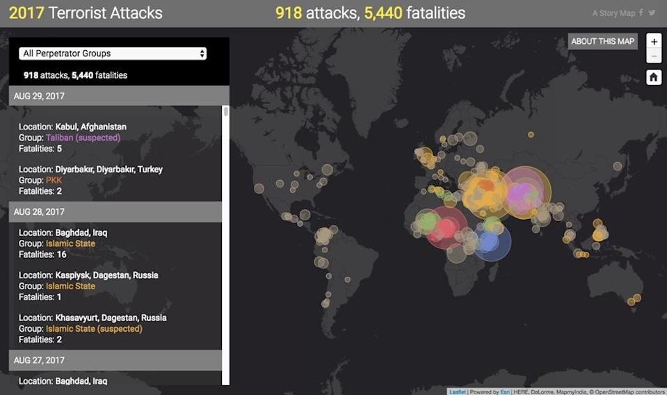 A map created by PeaceTech Lab showing the number of terrorist attacks that have taken place around the world by month.