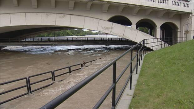 A flooded pathway that passes underneath Calgary's Centre Street Bridge is seen in this file photo from June 2013. (CBC - image credit)