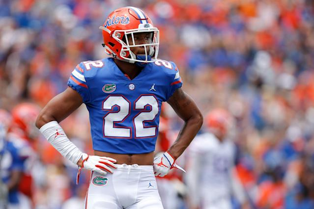 """<a class=""""link rapid-noclick-resp"""" href=""""/ncaaf/players/299172/"""" data-ylk=""""slk:Chris Steele"""">Chris Steele</a> enrolled early at Florida and participated in the team's spring game. Now he is pursuing a transfer. (Photo by David Rosenblum/Icon Sportswire via Getty Images)"""