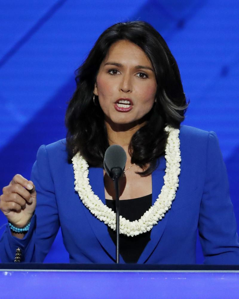 Tulsi Gabbard speaks at the 2016 Democratic National Convention in Philadelphia.