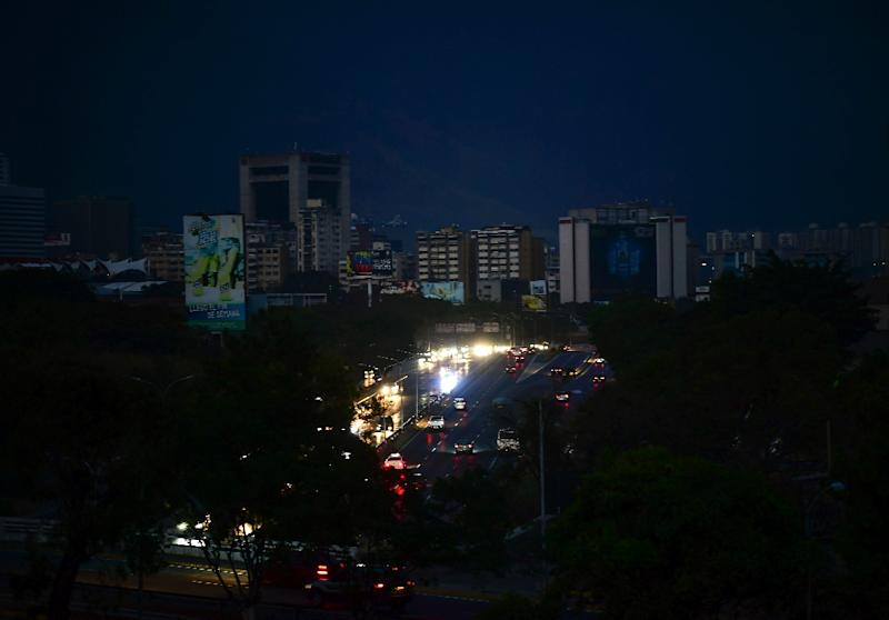 View of Caracas taken on March 8, 2019 during the worst power outage in Venezuela's history