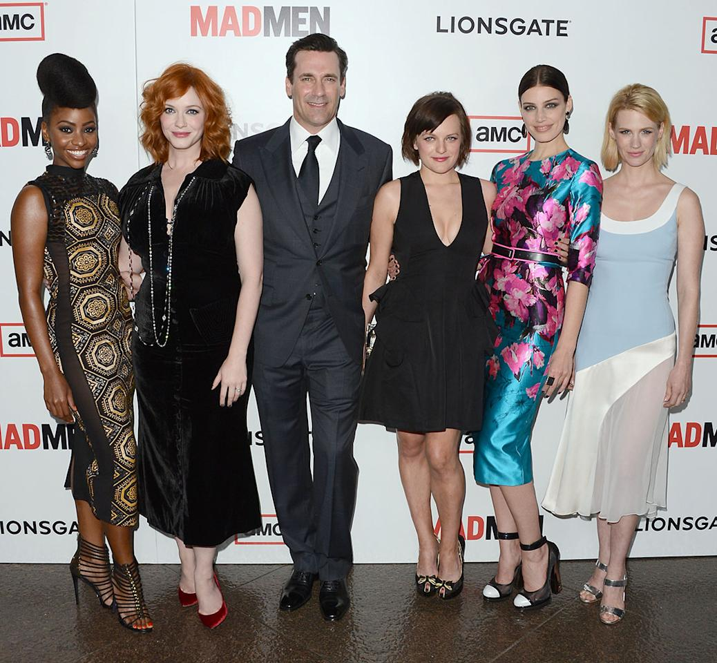 "Teyonah Parris, Christina Hendricks, Jon Hamm, Elisabeth Moss, Jessica Pare and January Jones arrive at the Premiere of AMC's ""Mad Men"" Season 6 at DGA Theater on March 20, 2013 in Los Angeles, California."