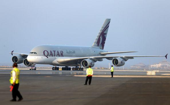 Qatar Airways' first Airbus A380 is seen at Hamad International Airport in Doha, Qatar.