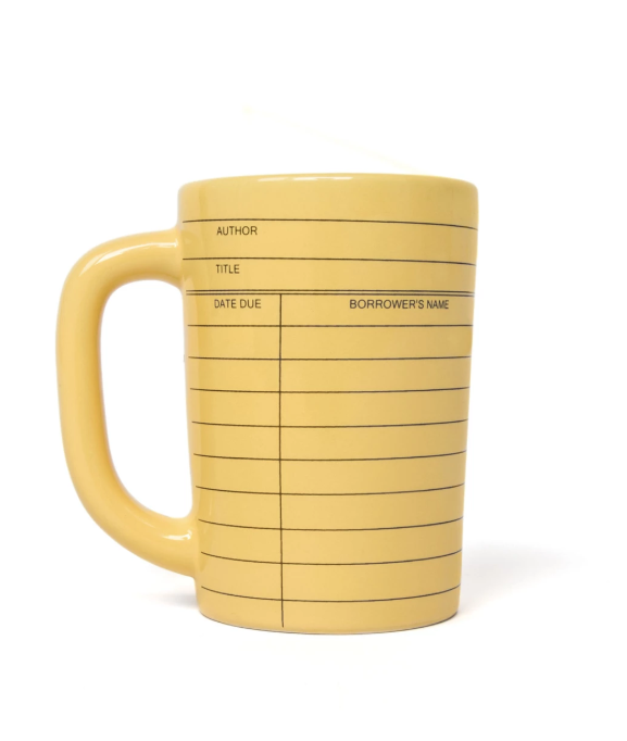 "<p>$12</p><p><a class=""body-btn-link"" href=""https://outofprint.com/products/library-card-yellow-mug"" target=""_blank"">SHOP NOW</a></p><p>Your book-loving teacher will love getting to pour their morning cup of joe into this library card themed mug.</p>"