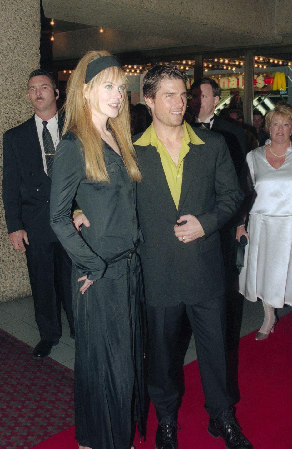 <p>And now for the <em>Big Little Lies</em> segment of throwback '90s fashion, here is Nicole wearing a jersey headband to the premiere of <em>To Die For</em>. And also, Tom Cruise is casually wearing a slime-green-colored button-down. </p>