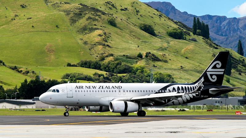 Queenstown, NEW ZEALAND - DEC 9, 2016: Airplane of Air New Zealand takes off from runway in Queenstown airport, Queenstown, South Island of New Zealand.