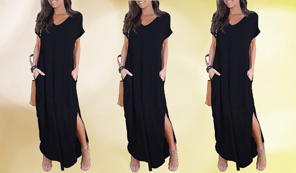You, too, can be that long cool woman in a black dress...for the price of a hearty lunch. (Photo: Amazon)