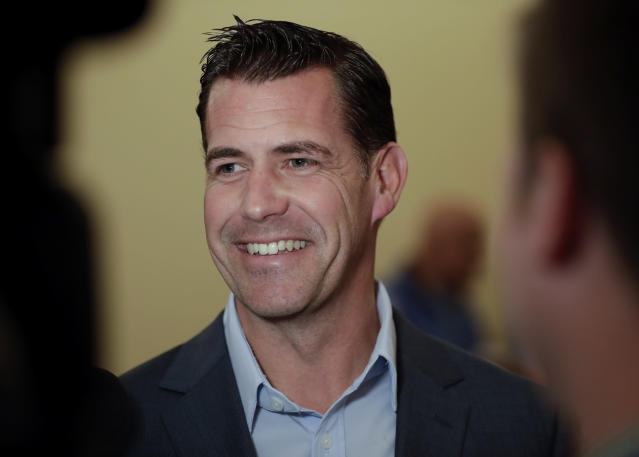 New York Mets general manager Brodie Van Wagenen speaks to reporters during the baseball GM meetings Wednesday, Nov. 7, 2018, in Carlsbad, Calif. (AP Photo/Gregory Bull)