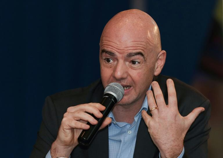 FIFA President Gianni Infantino speaks during a press conference at the FIFA Executive Football Summit in the Qatari capital Doha, on February 16, 2017