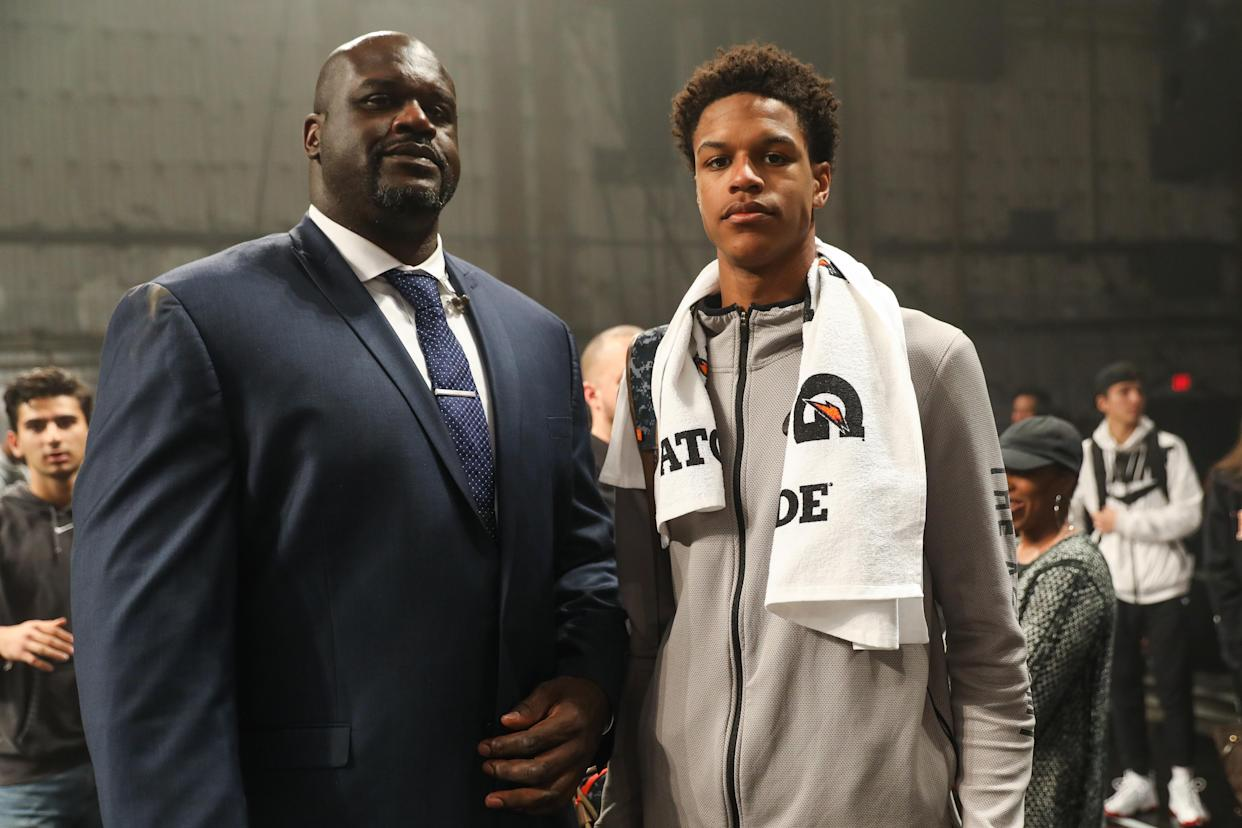Shareef O'Neal (right), the eldest son of NBA legend Shaquille O'Neal, will require heart surgery. (Getty Images)