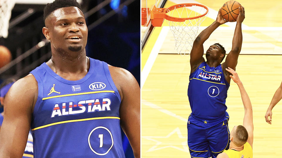 Zion Williamson, pictured here in action early in the NBA All-Star Game.