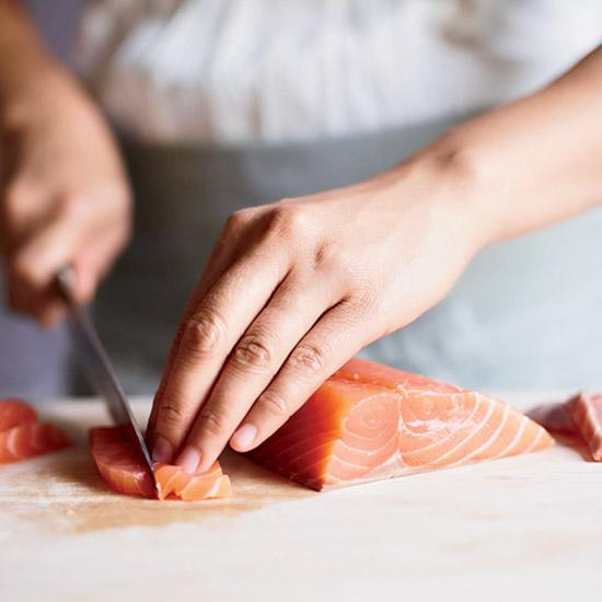 <p>To be eaten safely, sushi-grade fish must be handled correctly: It should be frozen for at least one day to kill any parasites. For the best flavor and texture in oily, strong-smelling fresh fish, such as salmon and mackerel, rub the fillets with fine sea salt and let stand for 30 minutes; rinse the fish well, pat dry and sprinkle all over with rice vinegar.</p>