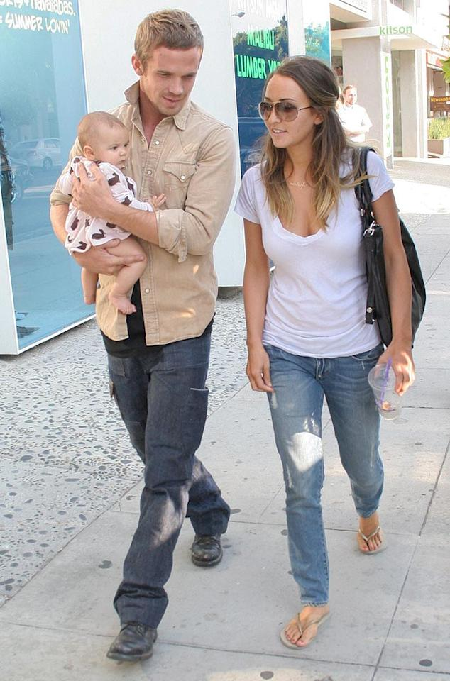"Cam Gigandet strolls along LA's trendy Robertson Boulevard with his girlfriend Dominique Geisendorff and daughter Everleigh Rae. <a href=""http://www.x17online.com"" target=""new"">X17 Online</a> - August 17, 2009"
